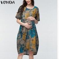 VONDA 2019 Summer Women Vintage Floral Print Maternity Dress Casual Loose Short Sleeve Pregnant Mother Clothes Plus Size M-5XL