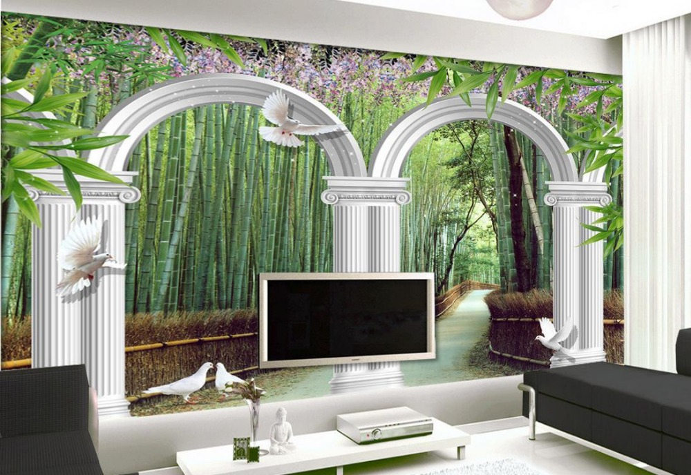 Custom 3d photo wall paper Bamboo Garden White Arches 3d wallpaper modern for living room murals
