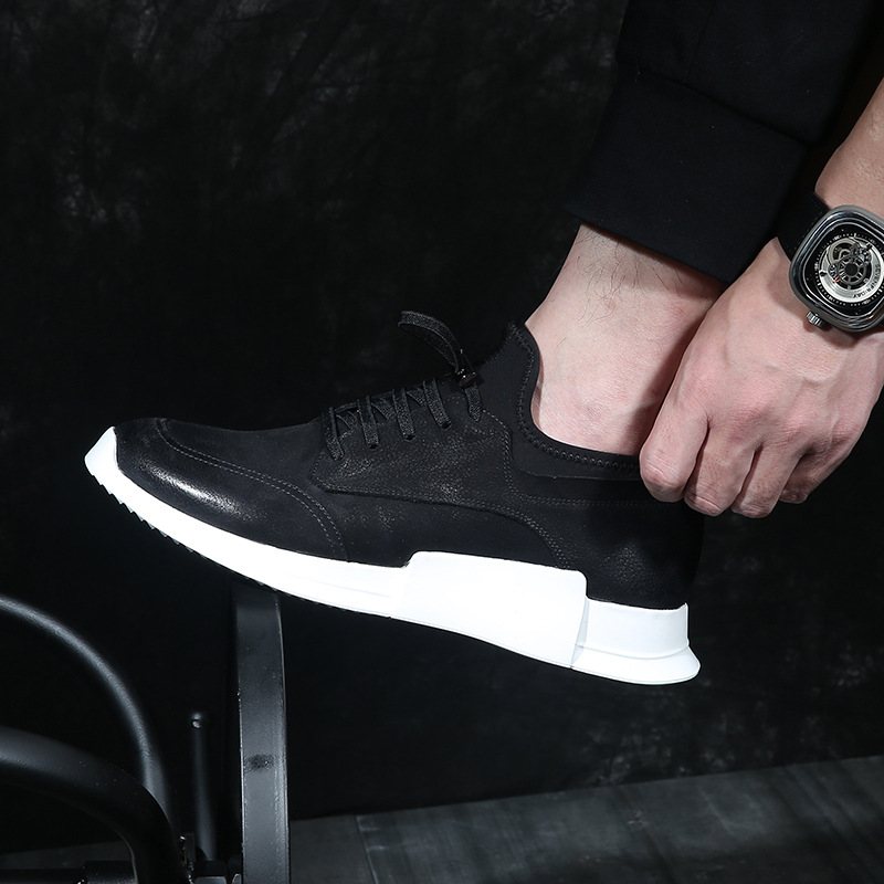 Genuine Leather mens casual shoes cowhide spring autumn summer breathable sneaker fashion boots Leisure shoes menBritish retro in Men 39 s Casual Shoes from Shoes