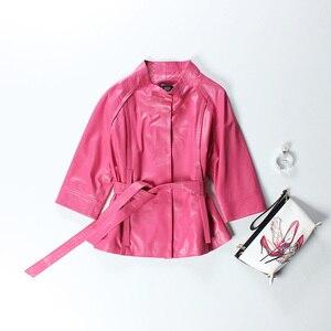Image 5 - Vermelho jaqueta de couro genuíno feminino plus size real pele carneiro preto rosa roxo casaco de couro feminino outerwear