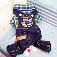 2016 Popular Leisure Plaid Dog Clothes Jumpsuits & Rompers Summer Pet Demin Straps Jeans Overalls 3 Color Cat Teddy Chihuahua
