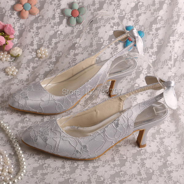 Custom Handmade Slingback Silver Wedding Lace Shoes Bridesmaid with Bowknot Back