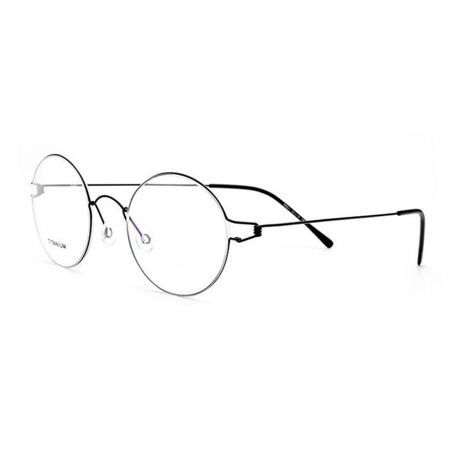 8aff925a40 28607 Titanium Alloy Full Rim Eyeglasses Frame Round Shape Fashion Brand  Prescription Glasses Spectacles Eyewear for