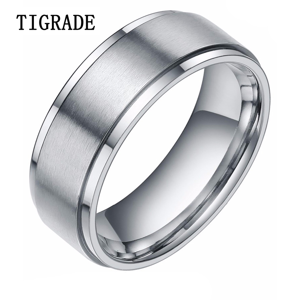 8mm silver tungsten carbide ring men high polished edges brushed wedding band male engagement. Black Bedroom Furniture Sets. Home Design Ideas