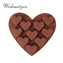 WISHMETYOU Silicone Soap Mold Love Chocolate Ice CubeS Handmade 10 Hole Small Shape Cake Decorating Tools Baking molds