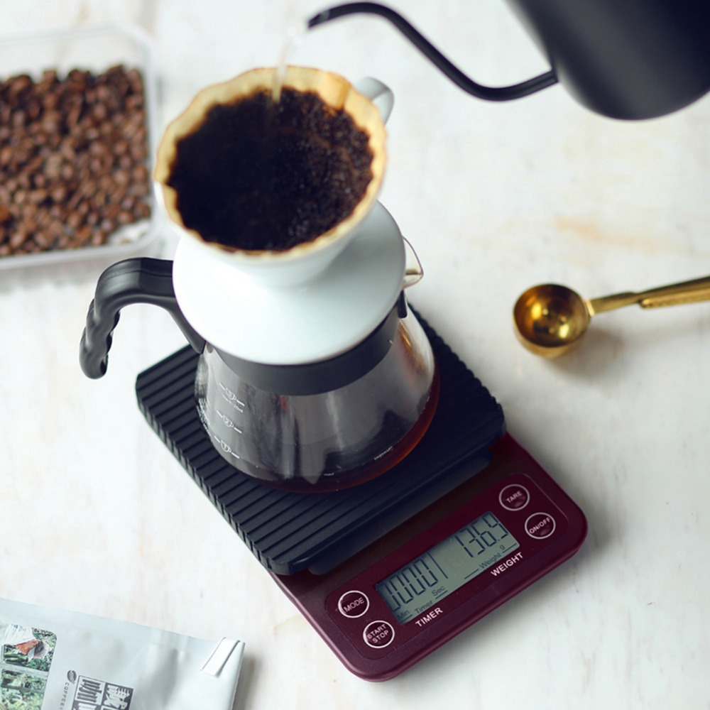 Portable 3kg/0.1g 5kg/0.5g Drip Coffee Scale With Timer Electronic Digital Kitchen Scale High Precision LCD Electronic Scales portable 1 7 lcd digital kitchen timer green white black