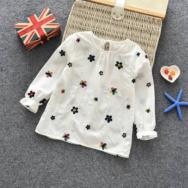 T-Shirt Children Tops Tees Spring Long-Sleeve Floral Girls Autumn Baby Cotton Blouse