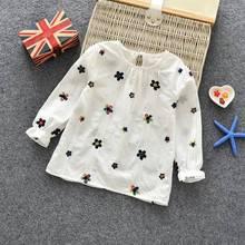 Повседневная хлопковая Футболка с цветочным принтом для девочек на осень и весну, детская одежда, детские топы с длинными рукавами, футболки, блузка