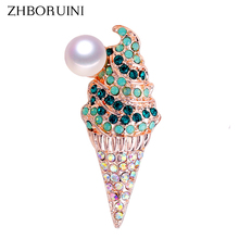 ZHBORUINI 2019 New Natural Pearl Brooch Creative Ice Cream Corsage Pin Freshwater Jewelry For Women Gift Accessories