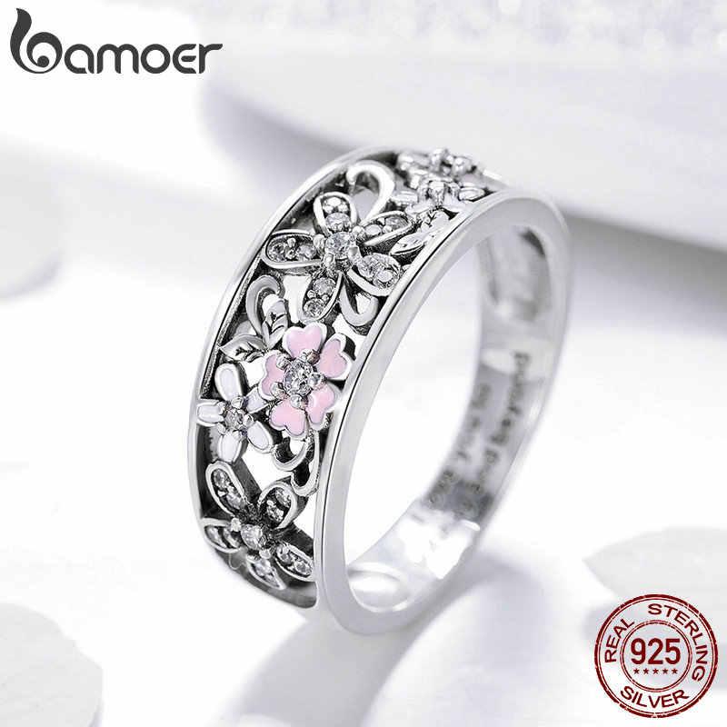 Bamoer 925 Sterling Silver Daisy ดอกไม้ & Infinity Love Pave แหวนนิ้วมือสำหรับเครื่องประดับหมั้นผู้หญิงเครื่องประดับ SCR390