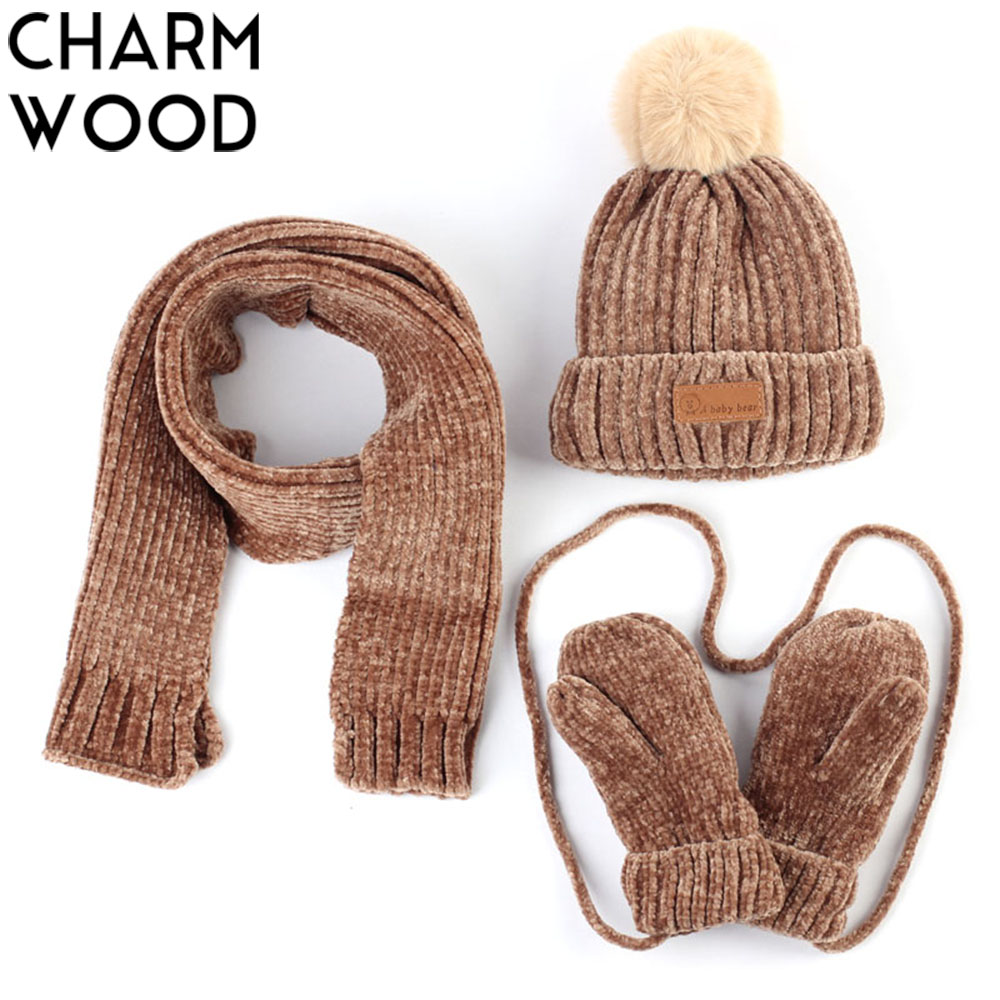 0-3 Years Old Baby Hat Scarf Gloves Winter Warm Crochet Polyester Slouchy Beanie And Scarf For Boys And Girls Kids 3PCS Set