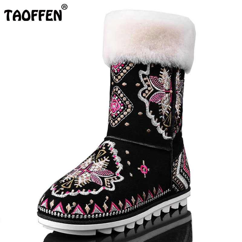 TAOFFEN Women Genuine Leather Flat Boots Women Embroidery Thick Fur Short Boots Warm Winter Shoes For Woman Footwears Size 34-40 taoffen women genuine leather flats snow boots women metal buckle mid calf boots warm fur shoes for women footwears size 34 39