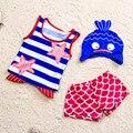 Historieta del bebé del traje 2016 nuevo algodón del verano de acrílico traje de baño niña niño Unisex encantador colorido traje de baño para bebés de 0-2 años de edad