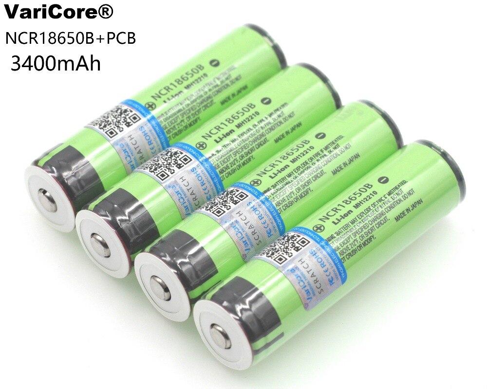 4 шт./лот Новый Защищенный <font><b>18650</b></font> NCR18650B <font><b>3400</b></font> мАч Перезаряжаемые 3,7 В Батарея с PCB для Фонари батареи