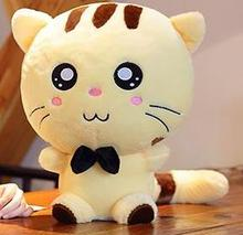 high quality soft plush toy cute white or yellow pitiful cat 60cm toy soft  throw pillow Christmas birthday gift ,d1063