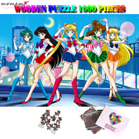 MOMEMO Sailor Moon Puzzle 1000 Pieces Wooden Jigsaw Puzzle Adults 1000 Pieces Puzzle Anime Cartoon Relax Brain Puzzles Games Toy