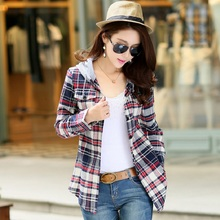 2017 Autumn Winter Ladies Female Casual Cotton With Hat Fashion Long-Sleeve Plaid Shirt Women Slim Outerwear Blouse Tops