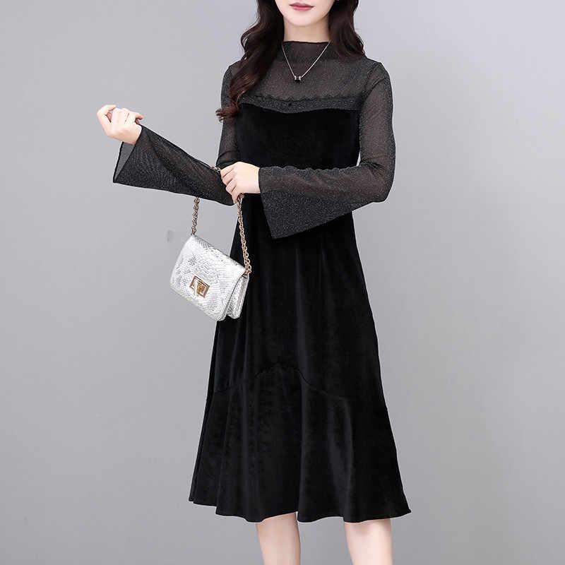 Осеннее женское бархатное платье, повседневное элегантное платье трапециевидной формы с длинным рукавом и высокой талией, Дамское винтажное черное платье с высоким воротником Vestidos
