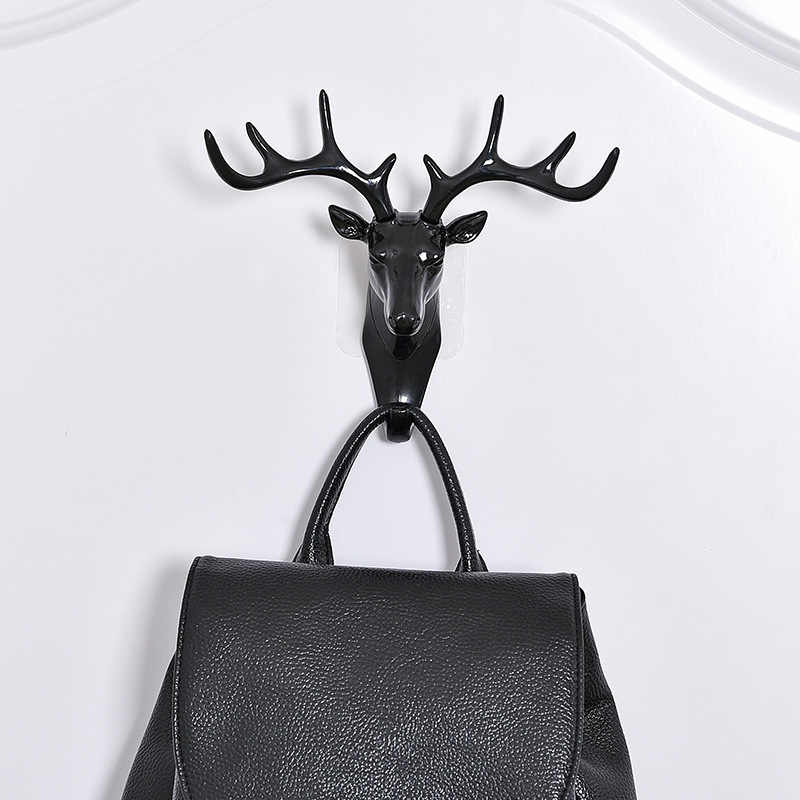 Креативные оленья голова самоклеющиеся вешалки для одежды вешалка, крючок, крышка, декор для комнаты, показ, настенный мешок, ключи, клейкий держатель