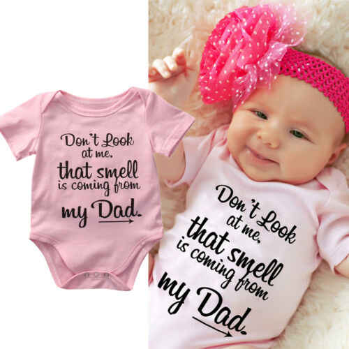 2019 brand new My Dad Newborn Toddler Baby Boy Girl pink letter Romper Jumpsuit Clothes Outfit for Kid clothing Children infant