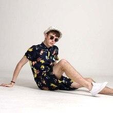 Случайные летом 2019 десять@ночь с коротким рукавом комбинезон костюм мужские цветочные мода хлопок спортивный комбинезон ползунки комплект комбинезон