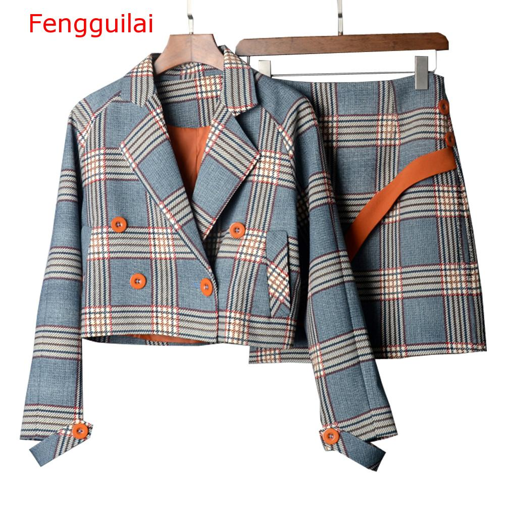 Fengguilai Spring Autumn Two Piece Plaid Skirt Suit Set Women Korean Style Female Set Mini Skirt And Short Jackets Double Breast