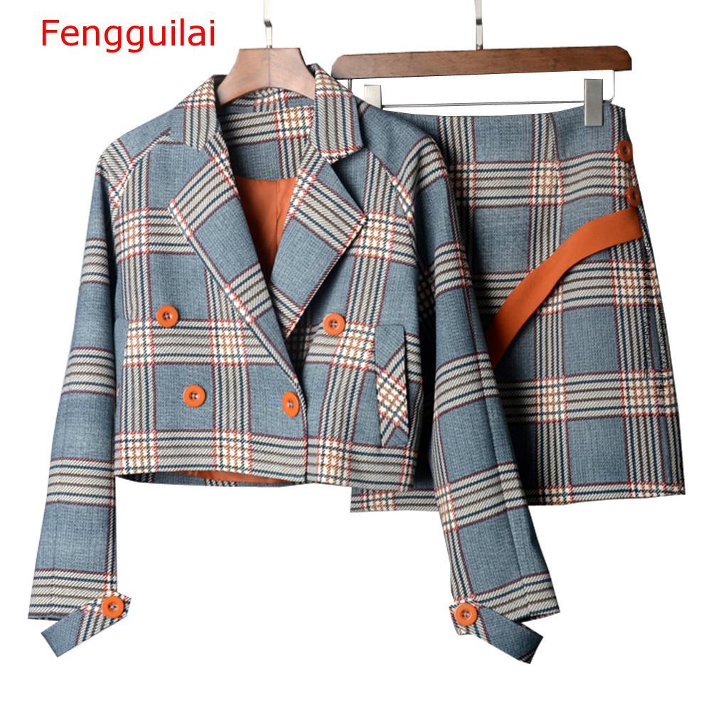 Fengguilai Spring Autumn Two Piece Plaid Skirt Suit Set Women Korean Style Female Set Mini Skirt And Short Jackets Double Breast