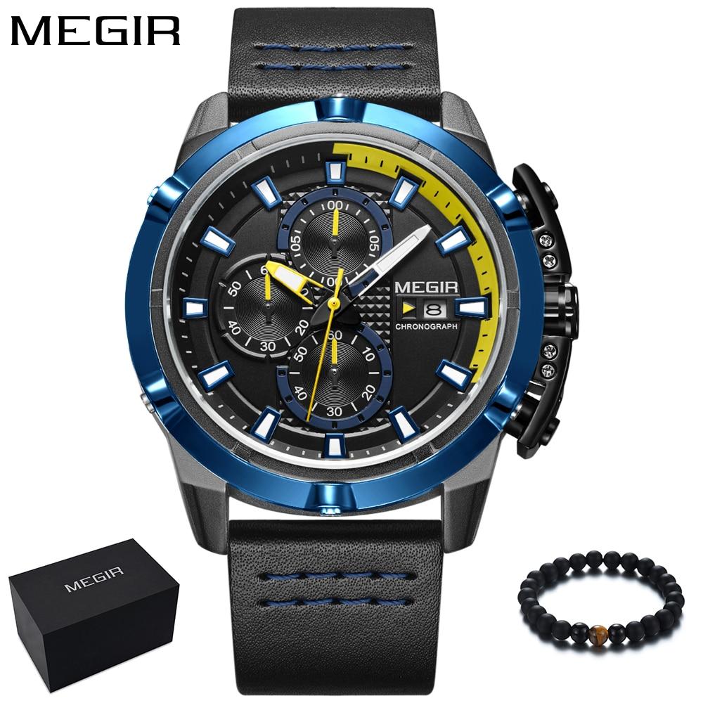 MEGIR New Fashion Sport Watch Men Blue Mens Watches Top Brand Luxury Leather Band Quartz Wristwatch Waterproof relogio masculino все цены