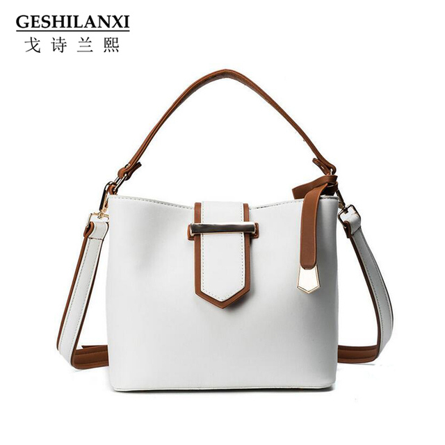 24451987a082 GESHILANXI 2017 New Shoulder Bag Cross body PU Leather Designer Brands  Luxury Female Bucket bags Top