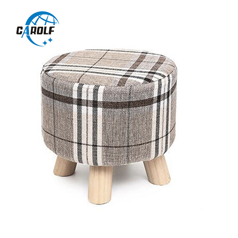 Round Ottoman Stool Small Wooden Soft Rest Chair Quadruped Pouffe Footstool Seat Plaid Fabric StoolRound Ottoman Stool Small Wooden Soft Rest Chair Quadruped Pouffe Footstool Seat Plaid Fabric Stool