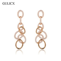 GULICX Fashion Geometric Circle Long Drop Earing For Women 18k Gold Plated CZ Zircon Hollow Dangle