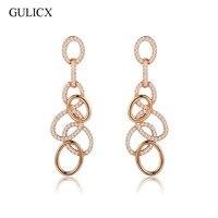 GULICX Fashion Geometric Circle Long Drop Earing For Women 18k Gold Plated CZ Zircon Hollow Dangle