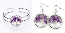 100-Unique Silver Plated Wire Wrap Tree of Life Bangle Natural Amethysts Earrings Stone Jewelry Set