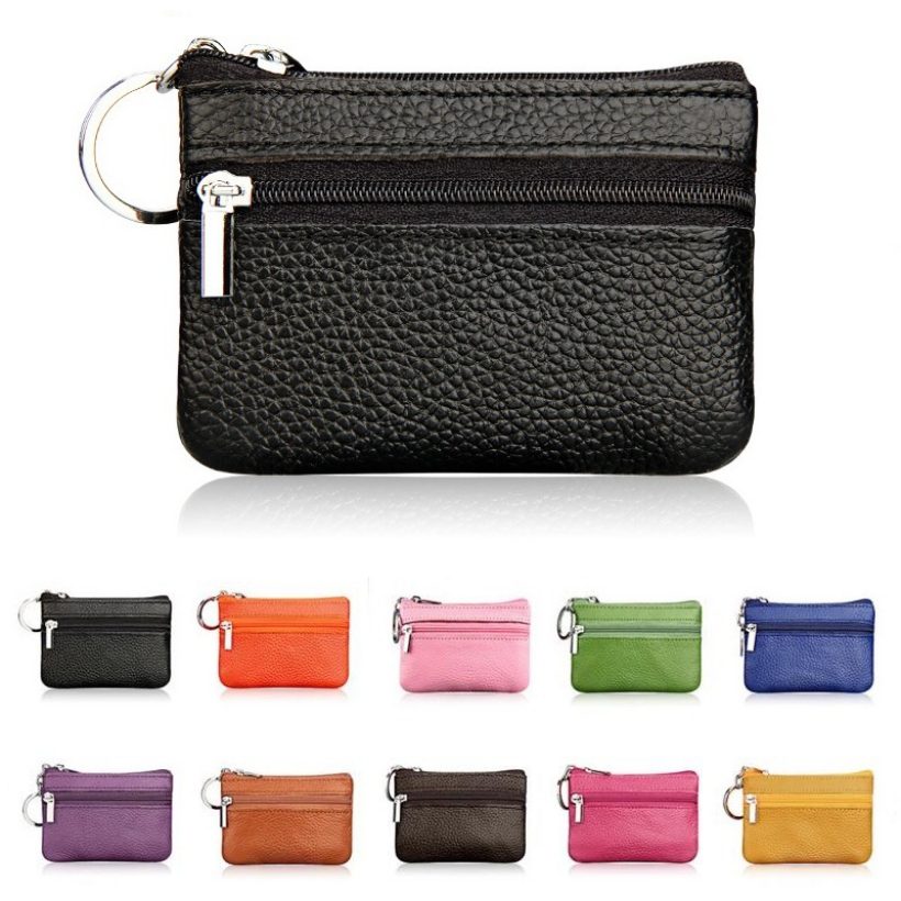 Women Vintage Faux Leather Coin Purse Lady Short Small Coin Purse Soft Wallet Clutch Two Zipper Bag
