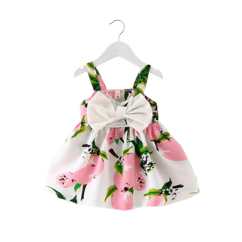 2017 Summer Sleeveless Baby Girl Dress Printed Bowknot Infant Princess Dress Newborn Baby Girl Dresses Toddler Clothing