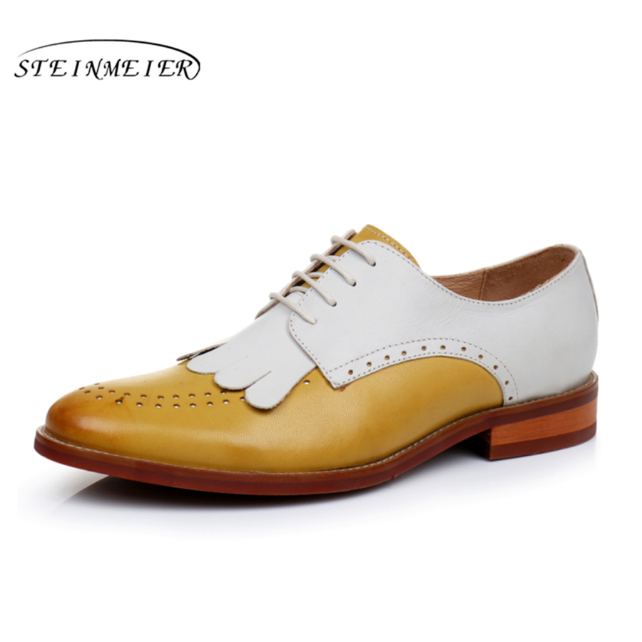 Genuine leather woman size 9 designer yinzo vintage flat shoes round toe handmade yellow beige oxford shoes for women 2017 genuine leather flat shoes women size 8 yinzo handmade beige brown vintage round toe british oxford shoes for women 2017