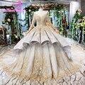 Lange Ärmel Geschwollene Rock Spitze Prom Kleider Luxuriöse Ballkleid Prom Gold Spitze Party Kleider Abiti Da Cerimonia Da Sera 15 16