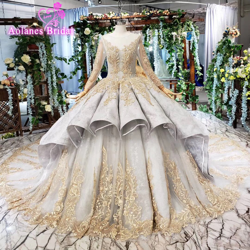 Long Sleeves Puffy Skirt Lace Prom Dresses Luxurious Ball Gown Prom Gold Lace Party Dresses Abiti Da Cerimonia Da Sera 15 16