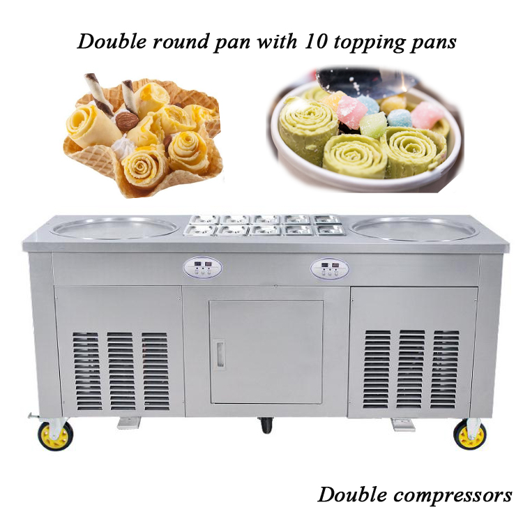 Popular Double Round Pan With 10 Cooling Pans Thai Fried Ice Cream Machine