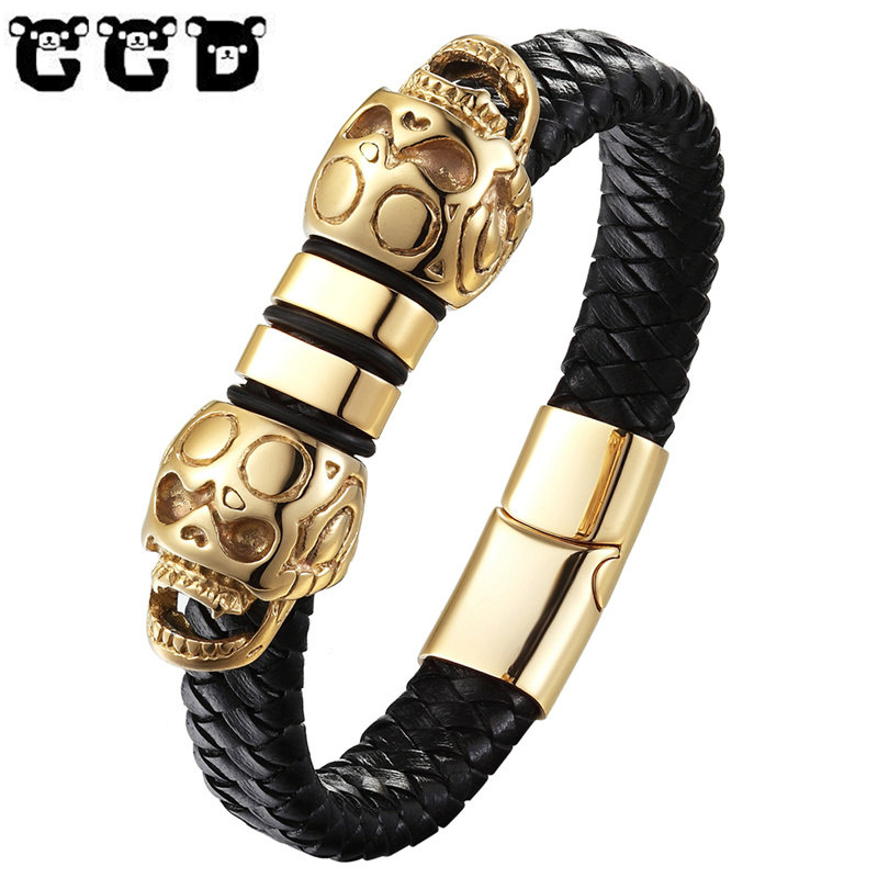 Fashion Handmade Braided Vintage Genuine Leather skull Bracelet Men Stainless Steel Bracelets & Bangles Punk Jewelry Pulseras badu golden stainless steel necklace bracelet punk black braided leather jewelry sets classic fashion women men necklaces