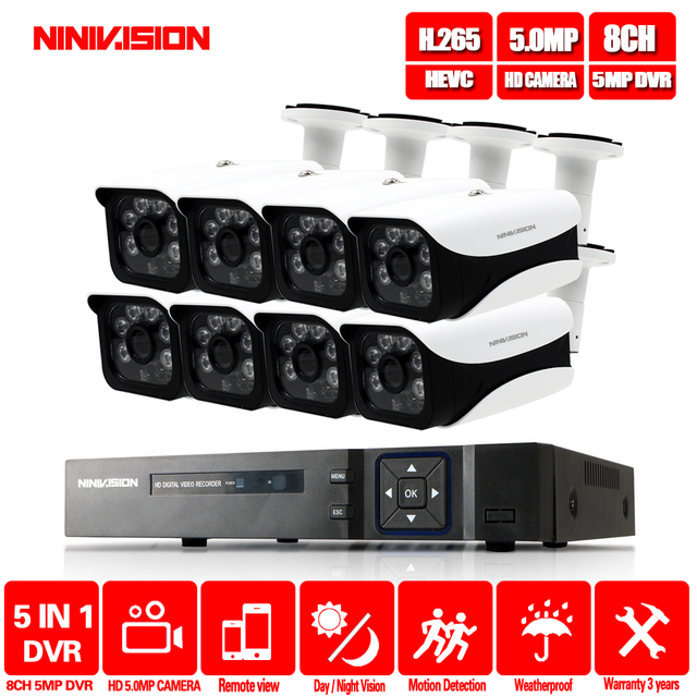 HD 5MP H.265 Video Surveillance 8 Cameras Security Camera Set For CCTV indoor Outdoor Security Camera System AHD Camera DVR P2P