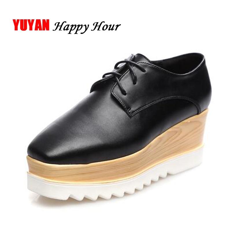 New 2019 Fashion Platform Shoes Women Soft Leather Flat Platform Women's Flats Ladies Brand Height Increasing Shoes Black ZH2423
