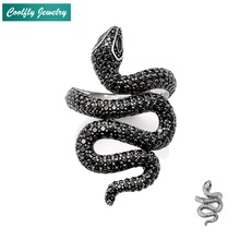 Trendy Style Open-end Black Snake Finger Rings Inlay Clear Zirconia 2018 New Brand Femme Fashion Party Jewelry Bague For Women