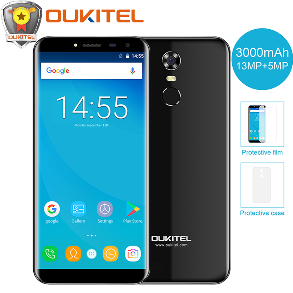 "Oukitel C8 5.5\""18:9 Infinity Display Mobile Phone Quad Core 2GB RAM 16GB ROM 13MP Android 7.0 3000mAh Fingerprint Smartphone"