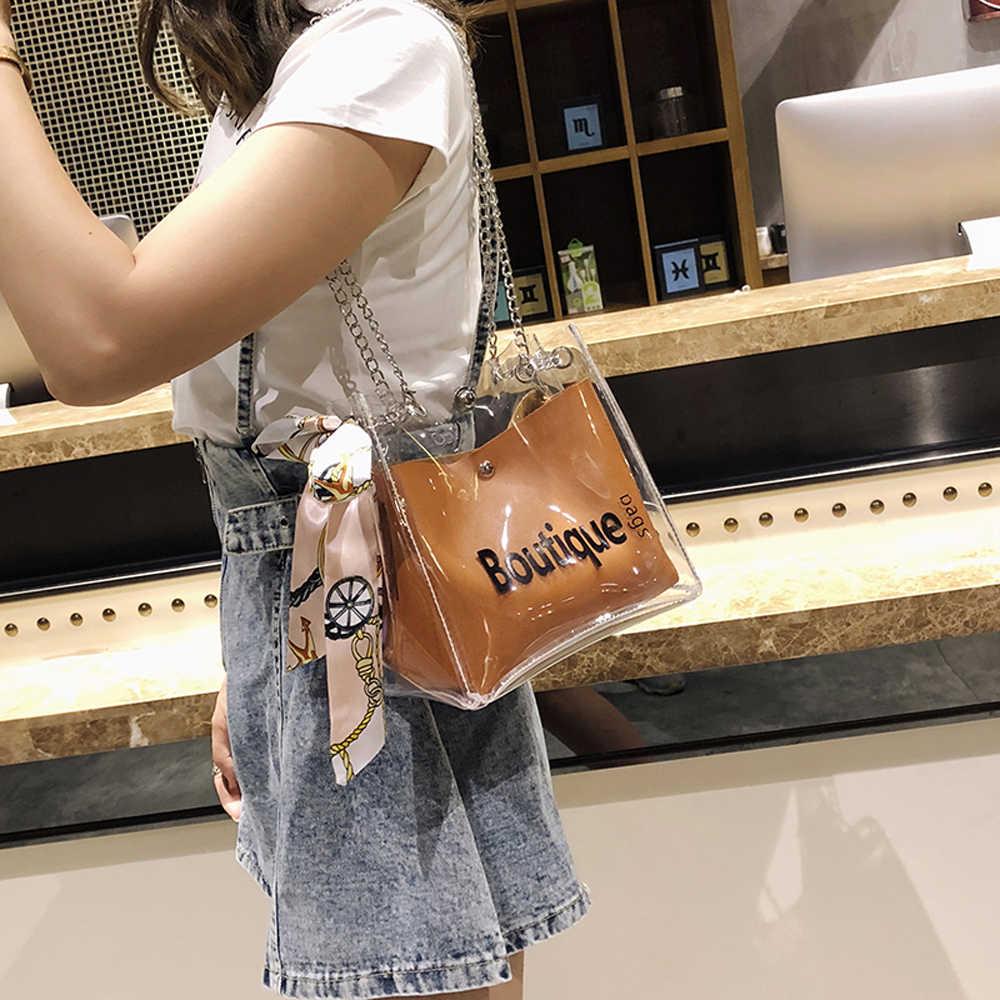 נשים תיק אופנה שקוף כתף שליח חוף מזדמן קניות אישה תיק sac ראשי femme schoudertas גבירות bolso mujer