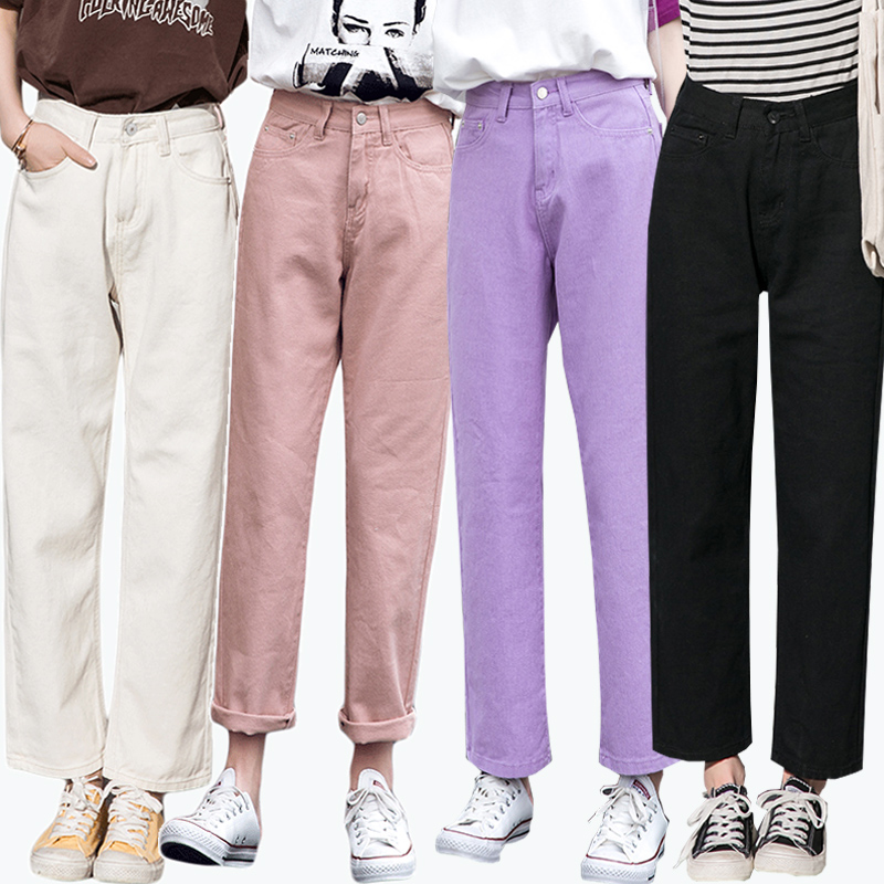 Summer Multi Color Loose Wide Leg Jeans, Classic Classic Fashion Casual Pant