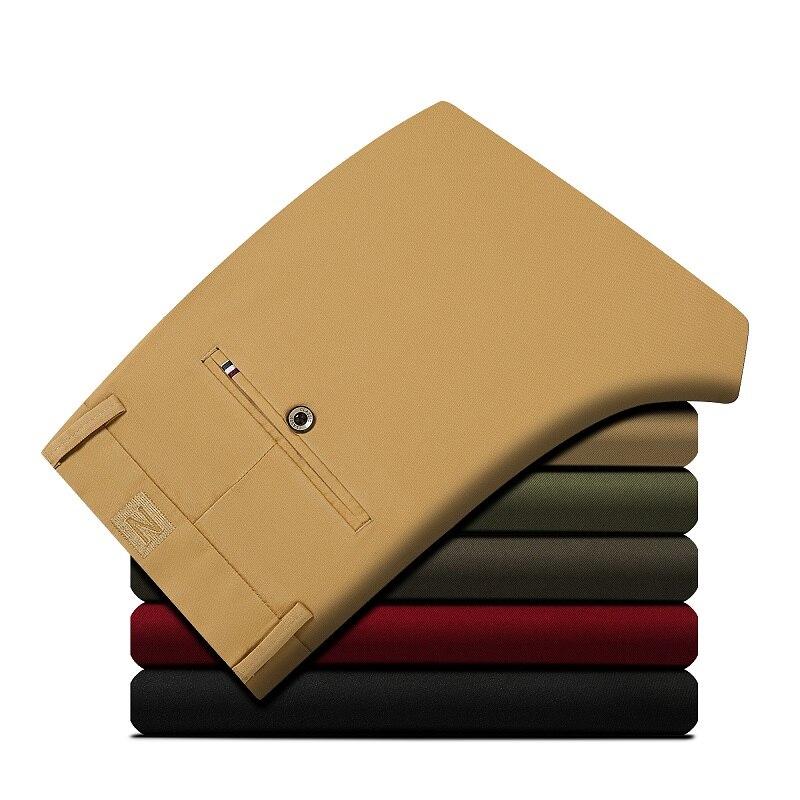 2018 cotone elastico pantaloni casual da uomo di colore solido degli uomini di alta qualità di business pantaloni maschio di quattro stagioni pantaloni casual