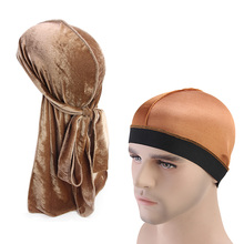 New Mens Velvet Durags Bandana Turban Hat silky Dome Cap wide band stretchy wig cap