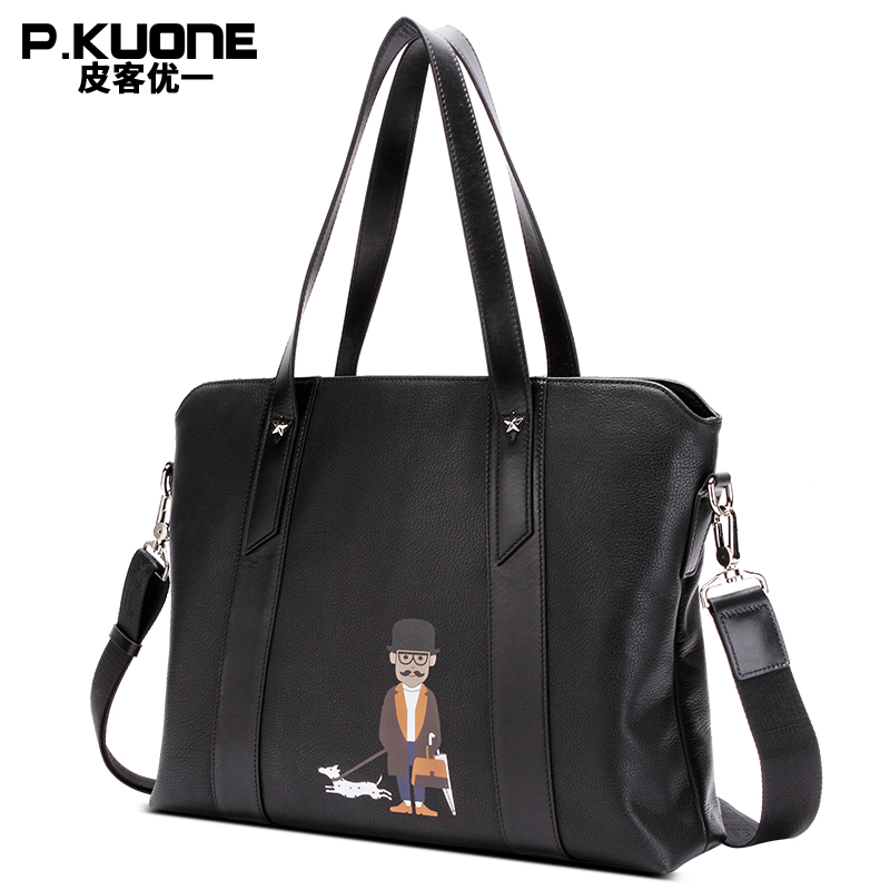 P.KUONE Top Quality Uncle Walk Dog Genuine Leather Briefcase Business Men Office Laptop Bag Male Handbag Documents Shoulder Bag