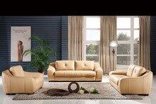 Clásico 1 + 2 + 3 última Modern Desgin respaldo alto lujo Top de granos ganado sofás de cuero muebles de sala 8266
